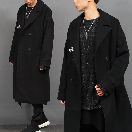 Big Over Sized Loose Fit Double Button Wool Long Coat