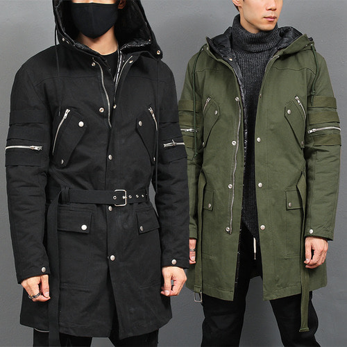 Removable Padded Inner Jacket Zipper Belt Hood Jacket 700