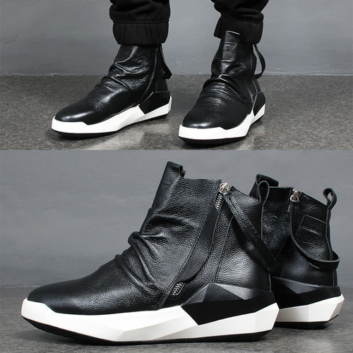 Shirring Leather High Top Double Zipper Sneakers 171A-2