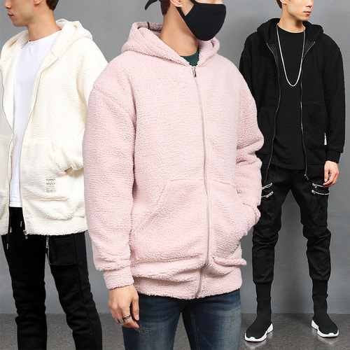 Synthetic Lamb Fur Fluffy Fleece Zip Up Hoodie