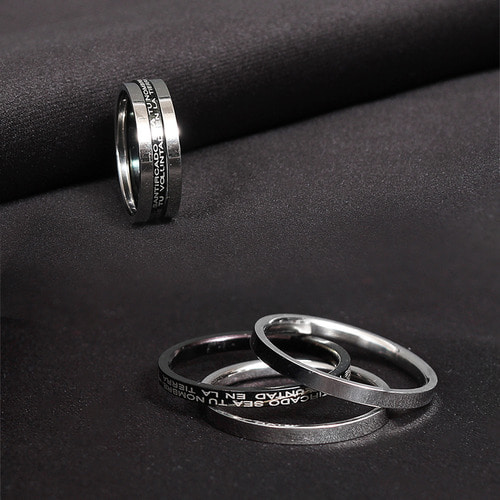Triple Lettering Surgical Stainless Steel Ring Set R27