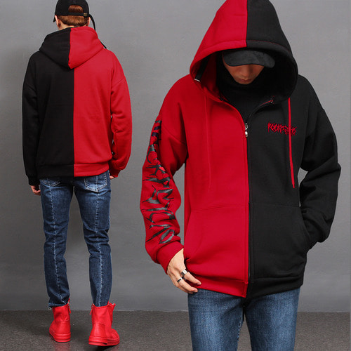 Contrast Half Color Printing Zip Up Hoodie