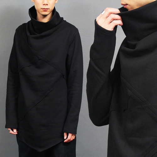 Vintage Line High Turtle Neck Long Black Tee