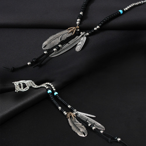 Steel Leaf Eagle Claw Pendant Beads Necklace N83