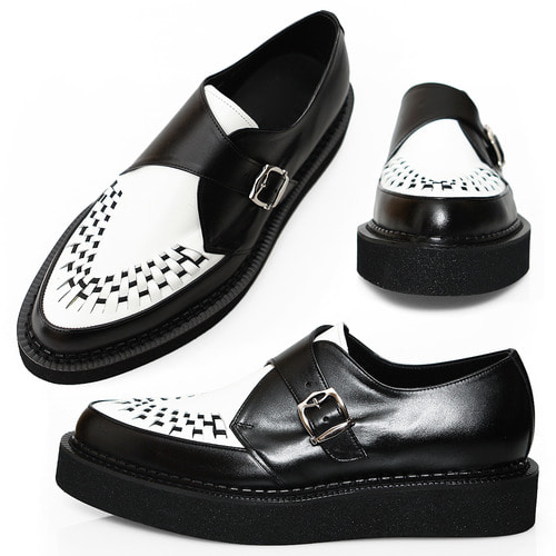 Handmade Monk Strap Leather Black White Blown Sole Creepers 1070