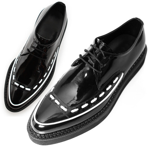 Handmade Patent Black Leather Blown Sole Creepers 1076