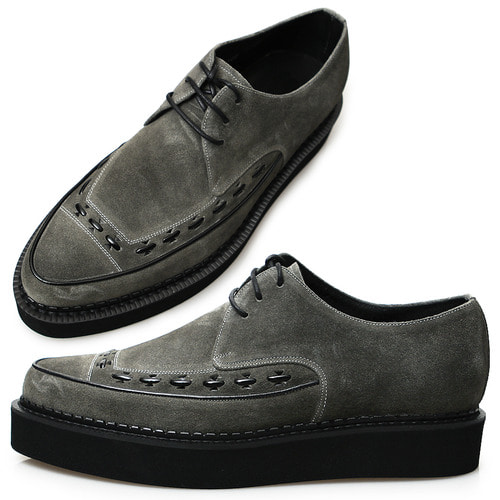 Handmade Gray Suede Leather Blown Sole Creepers 1077