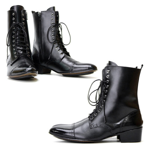 High Top Zip Closure Black Cowhide Leather Handmade Boots 2704