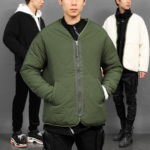 Military Quilted Water Repellent Fluffy Reversible Jacket
