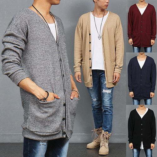 Loose Fit Corduroy Button Up Pocket Long Cardigan