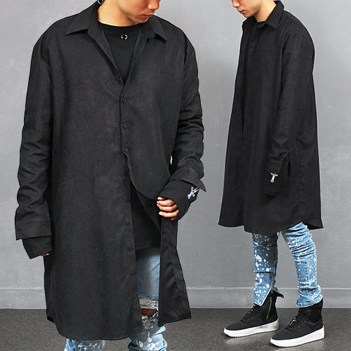 Big Over Loose Fit Long Black Shirt