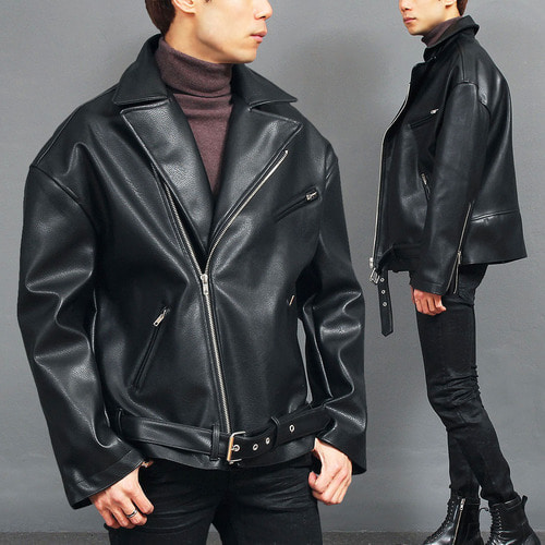 Loose Fit Faux Leather Belt Zipper Rider Jacket