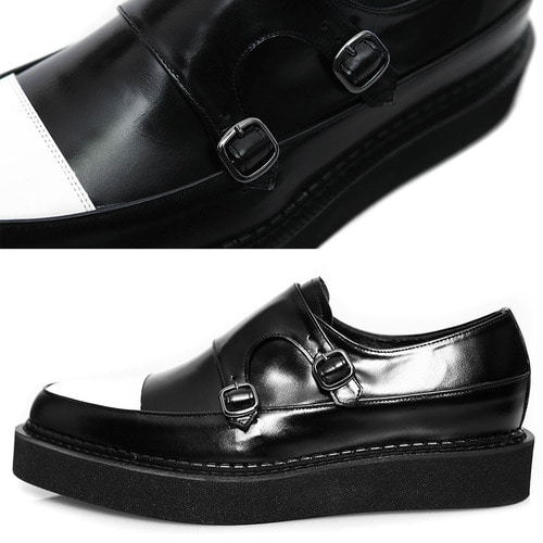 Handmade Double Monk Strap Leather Blown Sole Creepers 1071