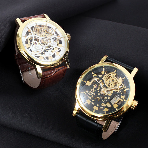 Self Winding Transparent Mechanical Movement Leather Strap Watch 605