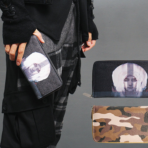 Maria & Camouflage Pattern Printing Zippered Long Card Wallet