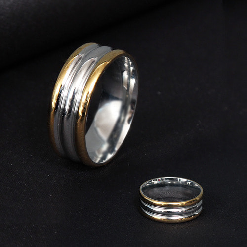 Three In One Half Black Gold Tone Steel Ring R33