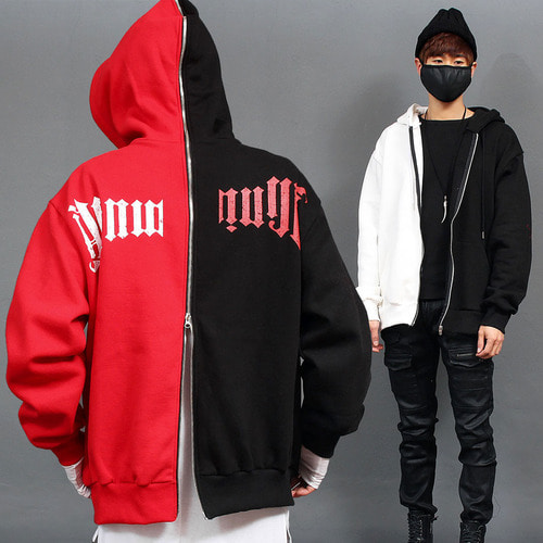 Contrast Half Color Printing Front Back Zip Up Hoodie
