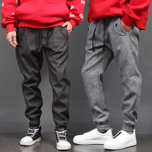 Elastic Waistband Button Pocket Dense Knit Jogger Pants