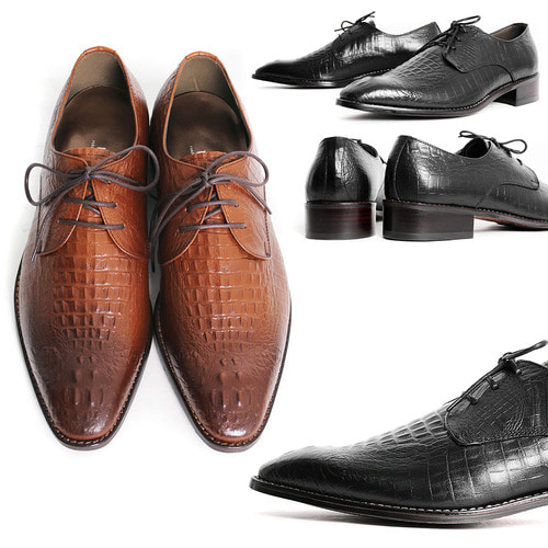 Crocodile Pattern Leather Handmade Oxfords Shoes 5079