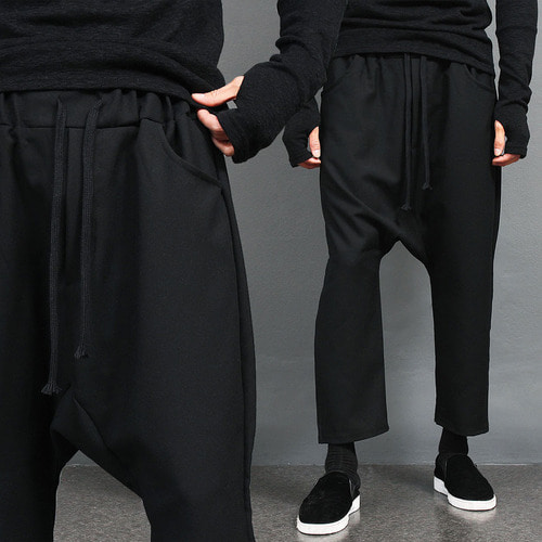 Black Drop Crotch Elasticized Waistband Baggy Sweatpants