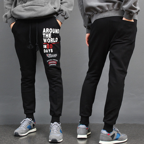 Logo Printing Patch Semi Baggy Joggers 001