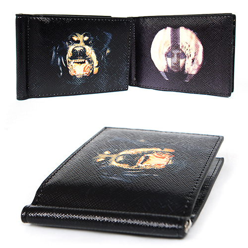 Faux Leather Maria Rottweiller Logo Money Clip Wallet