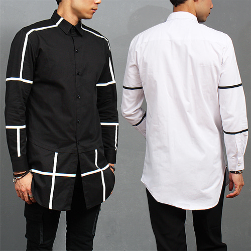 Street Fashion Contrast Line Over Hem Long Shirt