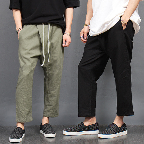 Diagonal Front Cover Linnen Baggy Pants