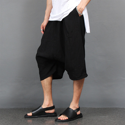Waist Banding Wrinkle Baggy 3/4 Sweatpants