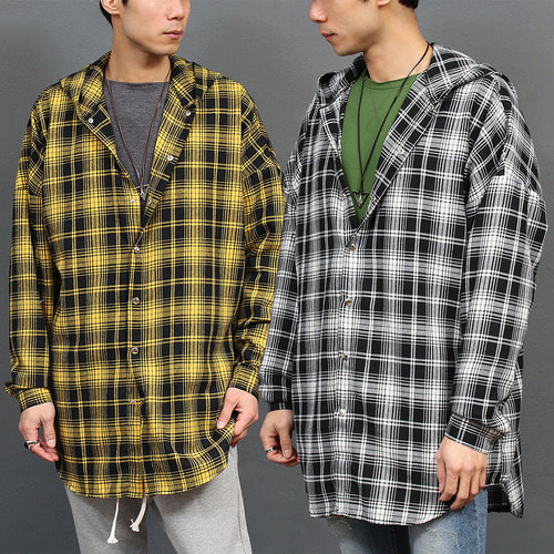 Loose Fit Checkered Pattern Hooded Shirt 001