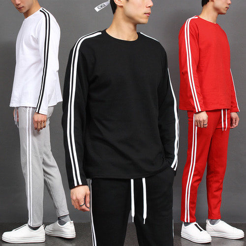 Side Double Line Sweatshirt Sweatpants Gym Wear Set 001