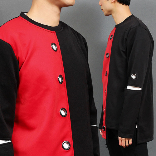 Half Black Red Eyelet Unbalanced Hem Long Tee 008