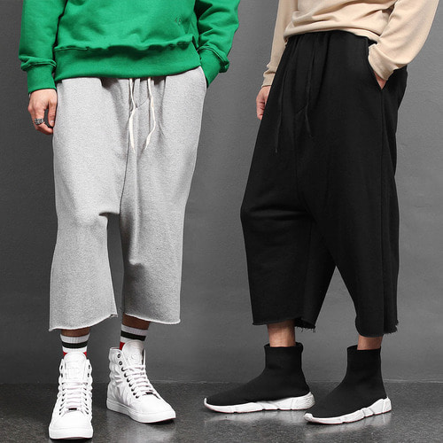 Vintage Cut Hem Drop Crotch Wide Baggy Sweatpants 016
