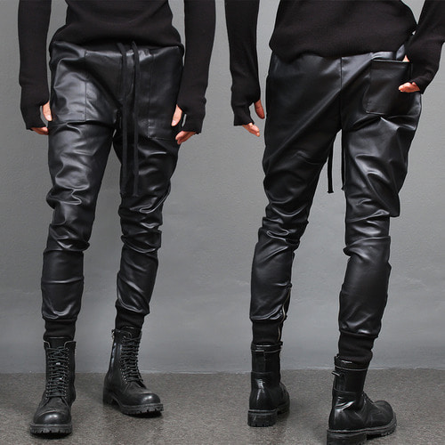 Faux Leather Coating Pocket Zipper Hem Joggers 017