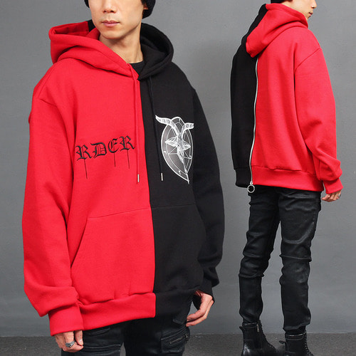 Contrast Half Color Logo Back Zip Up Hoodie
