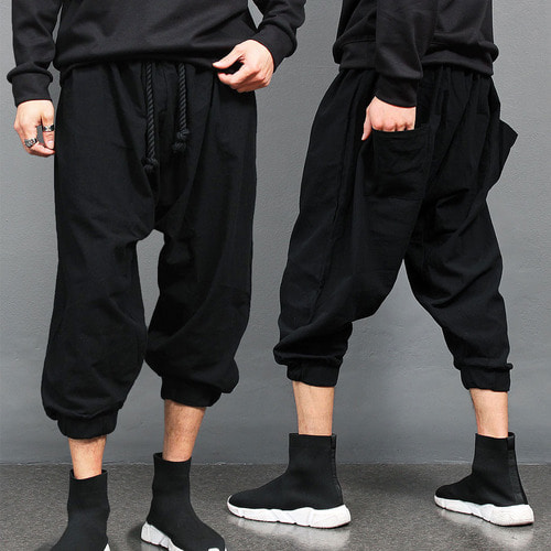 Drop Crotch Linen Baggy 4/5 Joggers 022