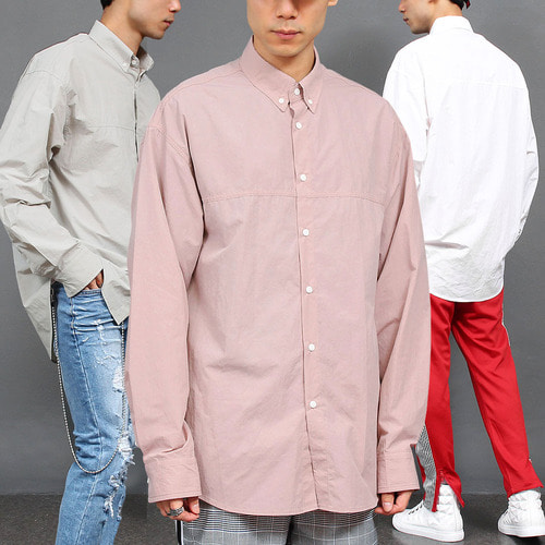 Loose Fit Boxy Long Poplin Shirt 005