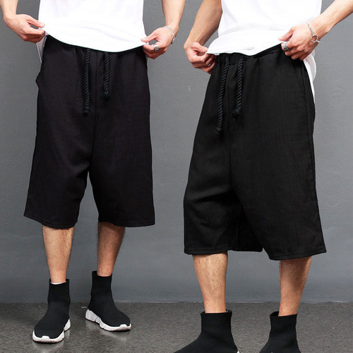 Waistband Rope Strap 3/4 Short Black Wide Pants