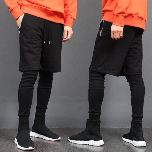 Leggings Layered Zipper Pocket Half Sweatpants