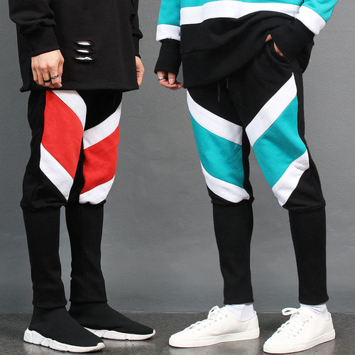 Contrast Color Long Ribbed Hem Sweatpants 031