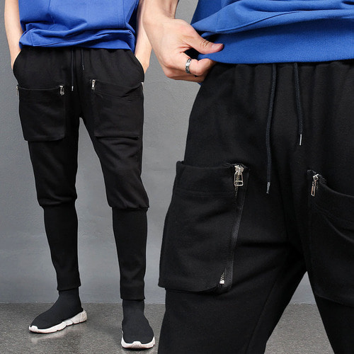 Zippered Cargo Pocket Long Ribbed Hem Sweatpants 032
