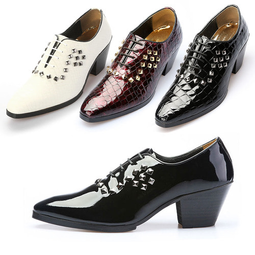7cm High Heel Studs Patent Leather Handmade Shoes 5072