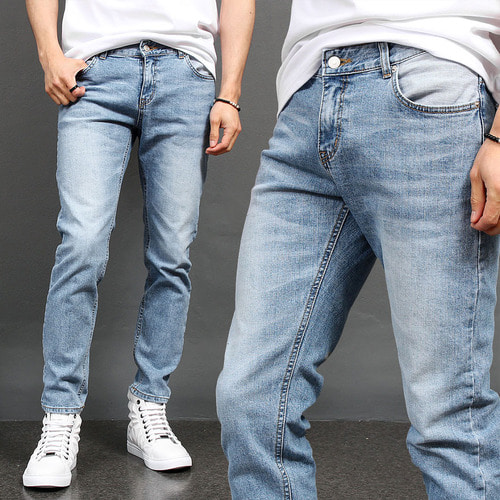 Vintage Slim Fit Faded Light Blue Jeans 035