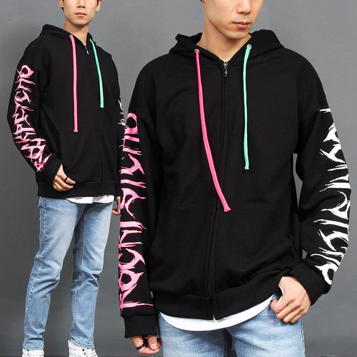 Contrast Half Color Logo Printing Zip Up Hoodie 009