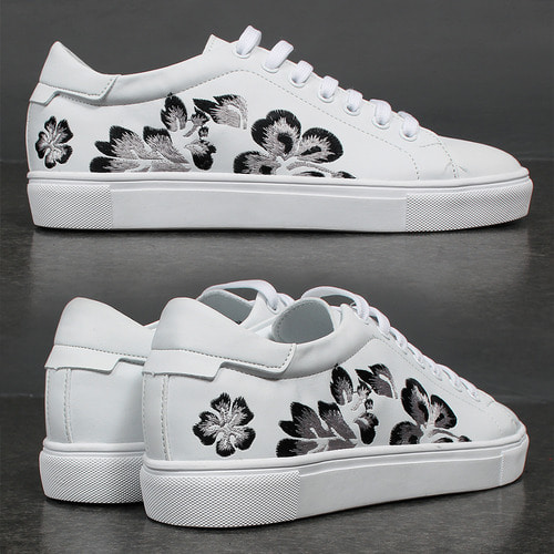 Synthetic Leather Embroidery Flower Stitch Sneakers 004