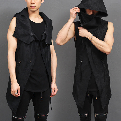 High Neck Hooded Zip Up Vest