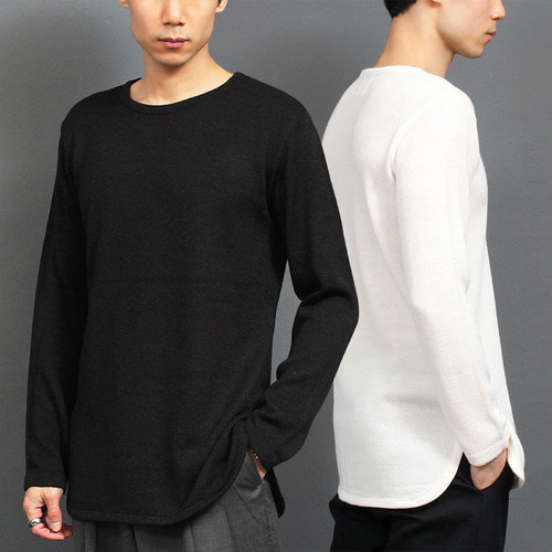 Split Side Round Hem Long Knit Tee 003