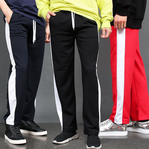 Contrast Side Line Jersey Sweatpants 048