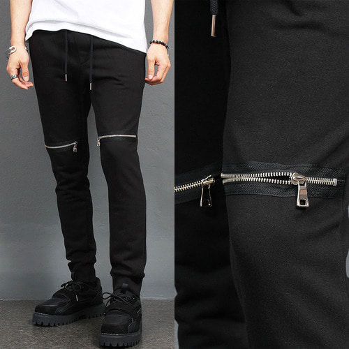 Knee Zipper Styling Black Slim Joggers 049