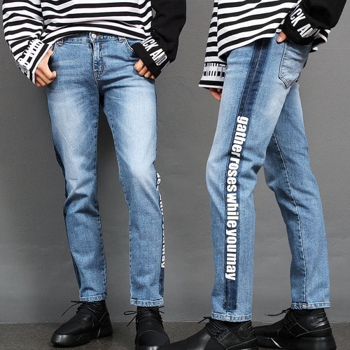 Vintage Side Line Graphic Printing Blue Slim Jeans 043